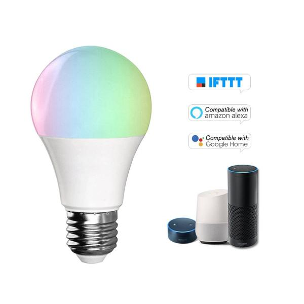 V5 Smart WI-FI L-ED Bulb RGB+W L-ED Bulb 11W E27 Dimmable Light Phone Remote Control Group Control Compatible with Alexa Goo-gle Home Tmall Genie Voice Control Light Bulb