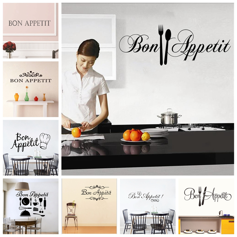 Room Posters Home Decor Kitchen Mural Wall Stickers Letters Decals Bon Appetit