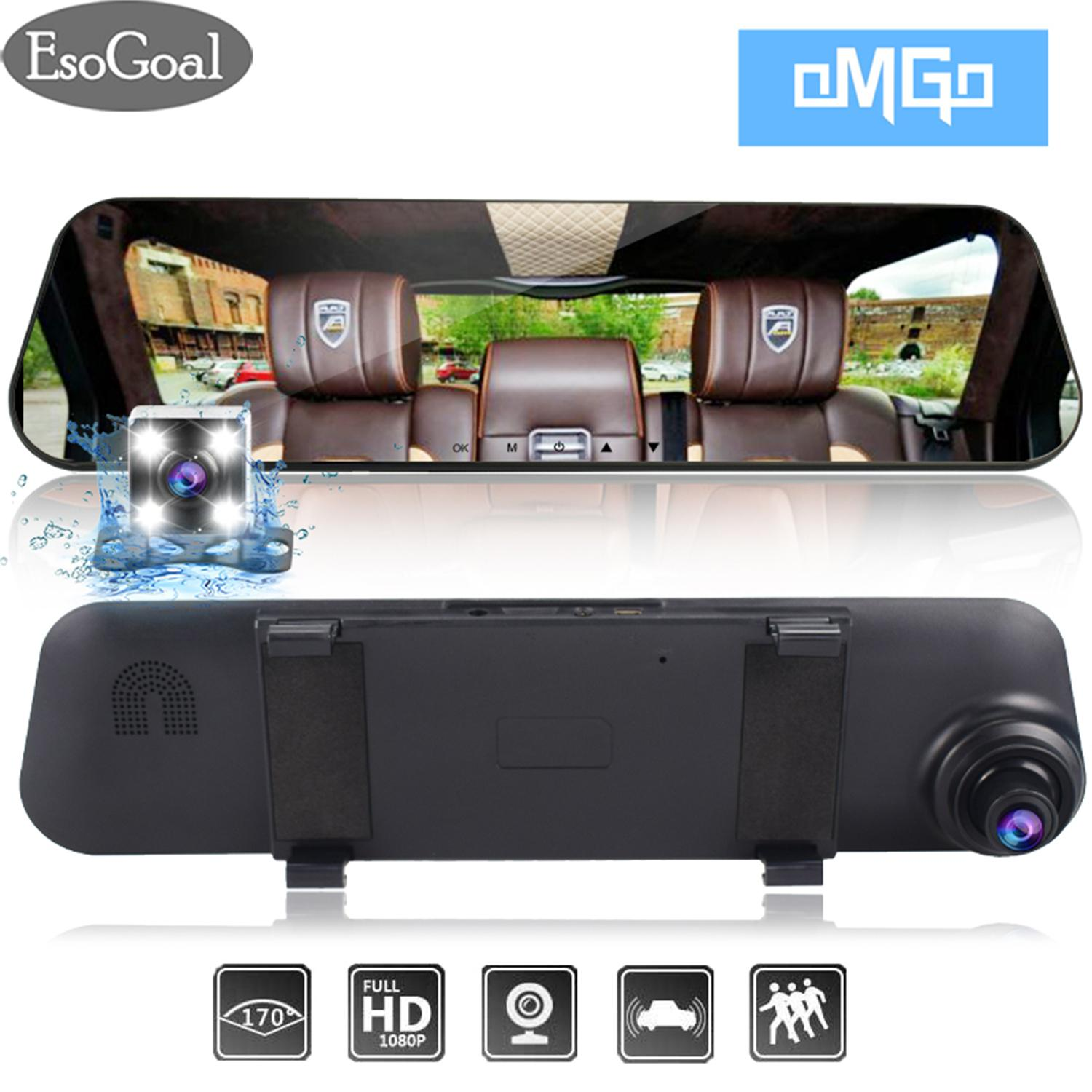 "EsoGoal กล้องติดรถยนต์ Car DVR, Dash Cam Mirror Rear View Mirror Camera, Car Video Recorder ,4.3"" 1080P HD TFT Screen,140° Wide Angle Front and 120° Rear Dual Lens, G Sensor, Parking Monitor, Loop Recording, Support 32GB Micro SD Card"