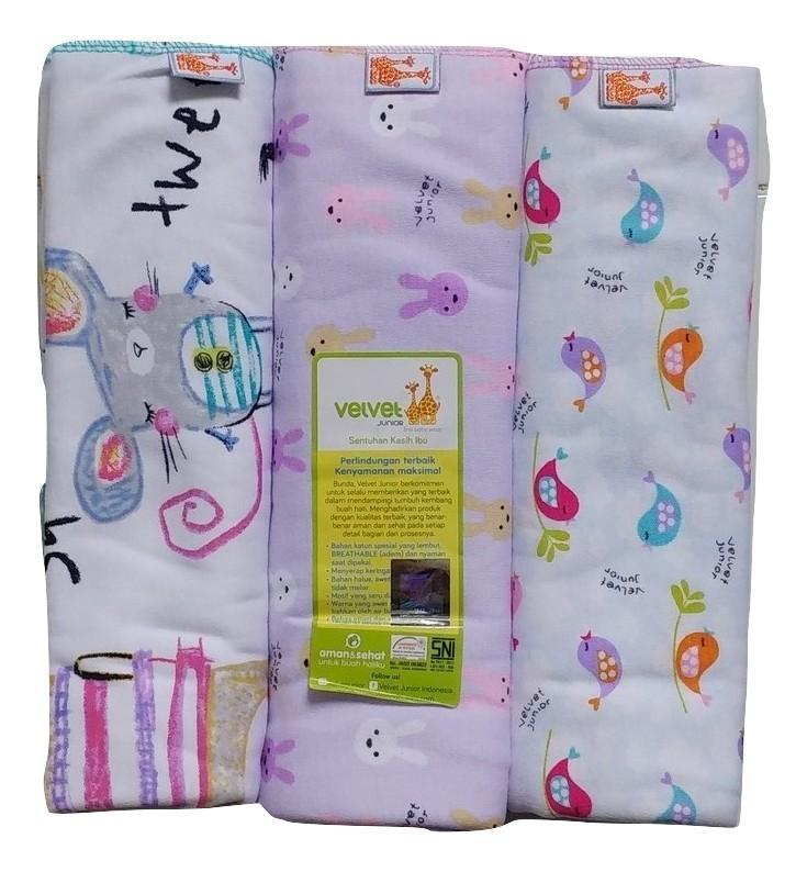 Jelova Angela 3pcs Bedong Velvet Baby Bayi Premium Quality SNI Standart - 1pack GIRLS
