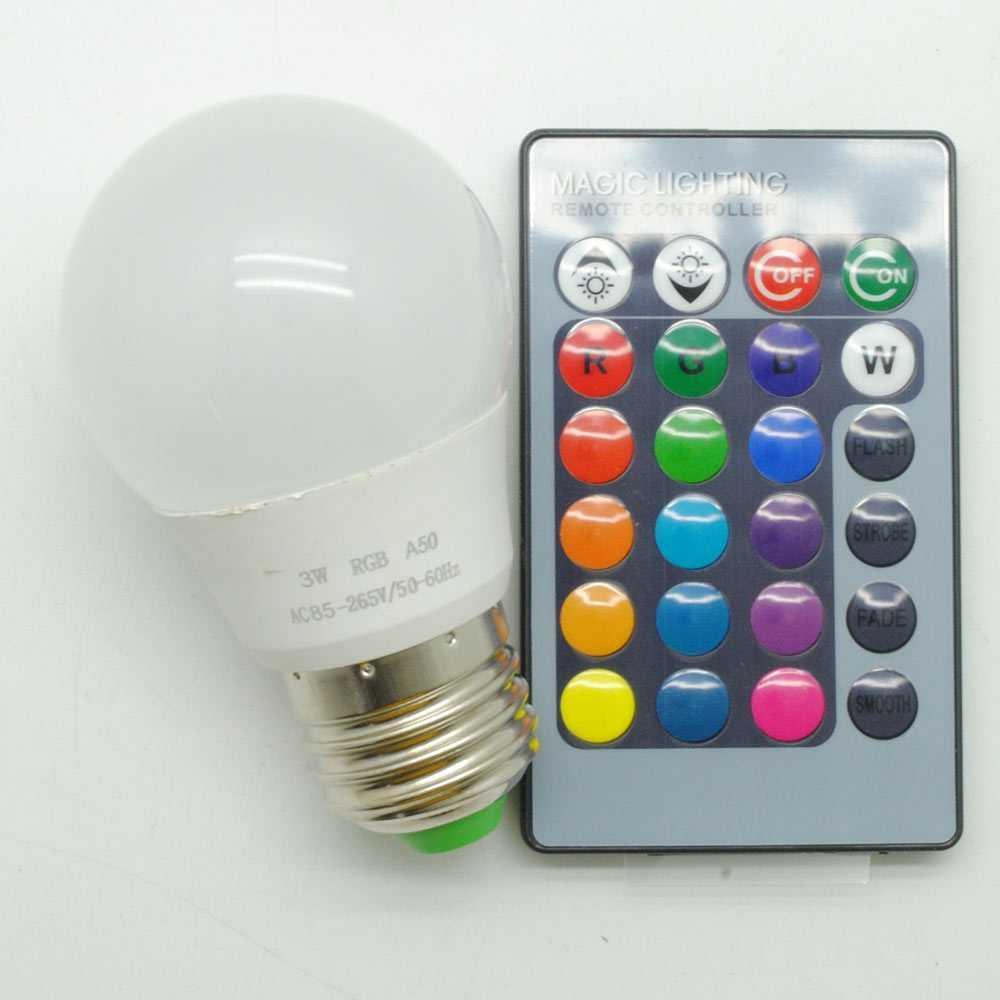 Lampu Bohlam Rgb Dengan Remote Control E27 3w - B2 By Engkas Shop.