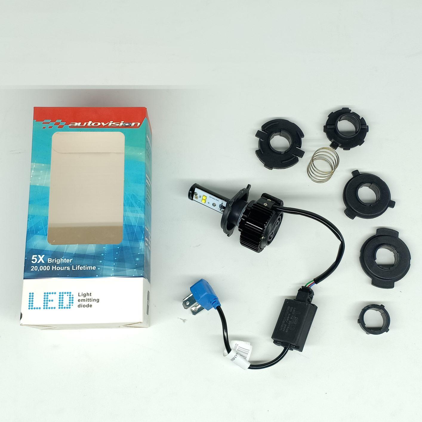 Autovision LED M5 H6 HS1 H4 DC12V 10/16W 6000K Putih Lampu Depan Motor