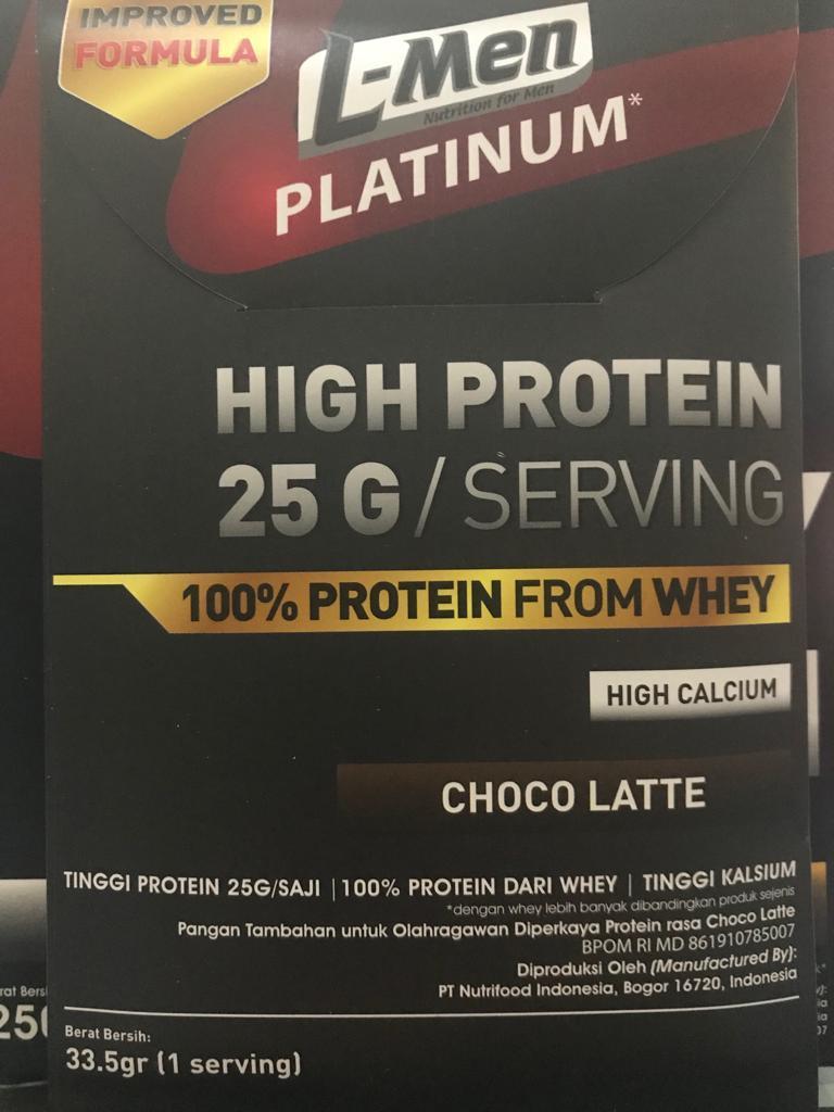 L-Men Platinum Choco Latte Sachet (25gr Protein) By Barang Original.