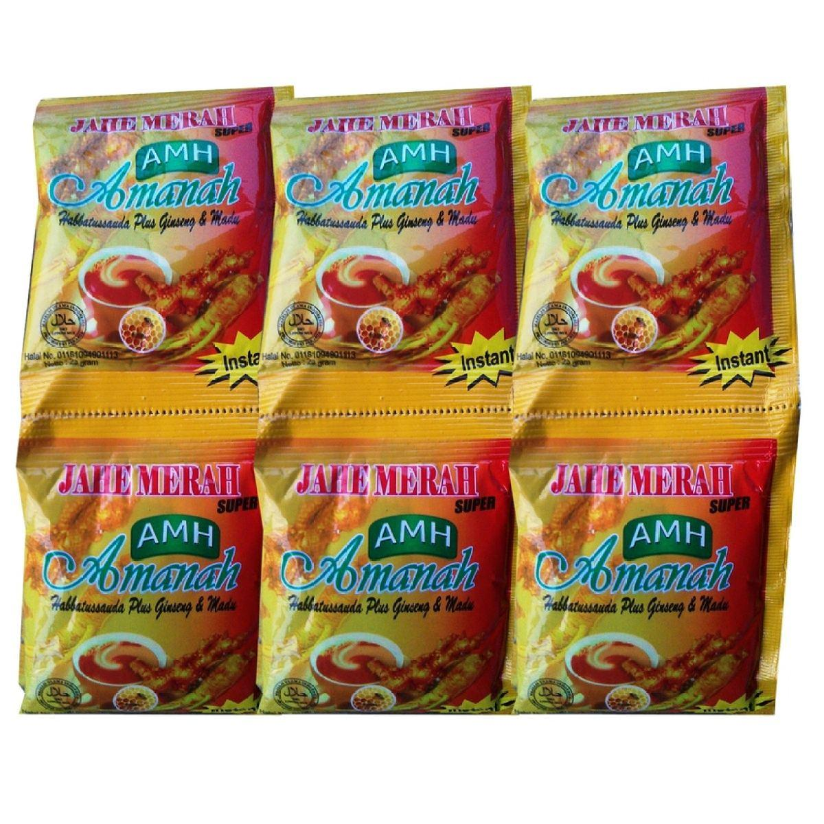 [ Paket 3 Renceng ] Amanah Jahe Merah Super Plus Ginseng Madu 12 Sachet By Hanifah Herbal.