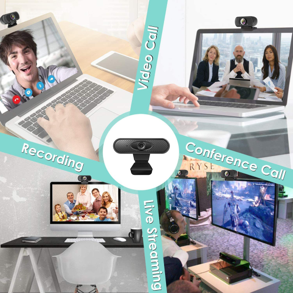 Liplasting 1PCS HD Webcam 1080P with Bult-in Microphone PC Laptop Desktop USB Webcams Pro Streaming Computer Camera Plug and Play 【In Stock】
