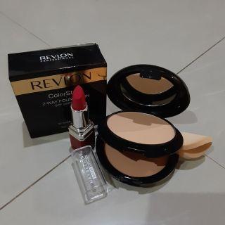 [PROMO 1 PAKET] bedak revlon 2in1 + lipstik maybeline matte long lasting thumbnail