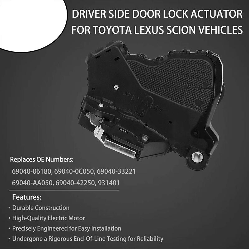Lexus ES350 Tundra Door Actuator 931-401 69040-06180 Camry Power Door Lock Actuator Motor Front Left Driver Side For Toyota 4Runner LS460,Scion tC- Replaces# 69040-0C050 GS350