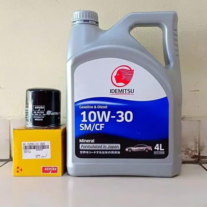 Paket Oli Mesin Mobil Idemitsu 10W-30 4 L + Filter Oli Nissan Livina