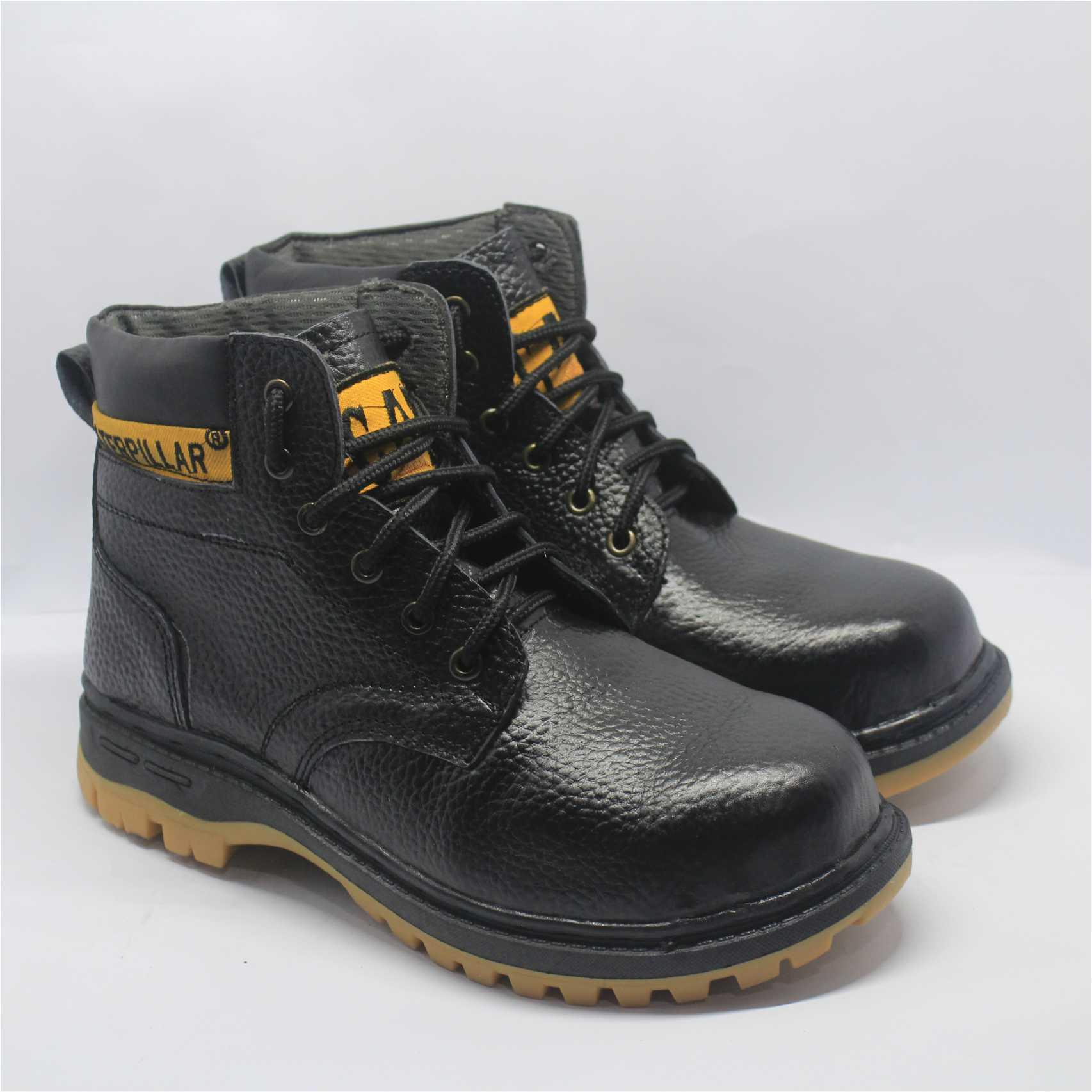 Caterpillar - Sepatu Safety Boots Pria 100% Kulit Asli Warna Hitam   Coklat  Ada Plat 6ace33f954