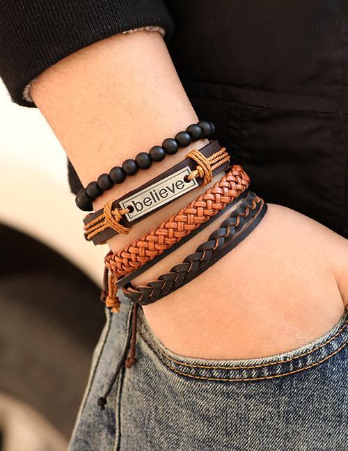 LRC Gelang Tangan Fashion Black+brown Letter Pattern Decorated Bracelet ( 4 Pcs )