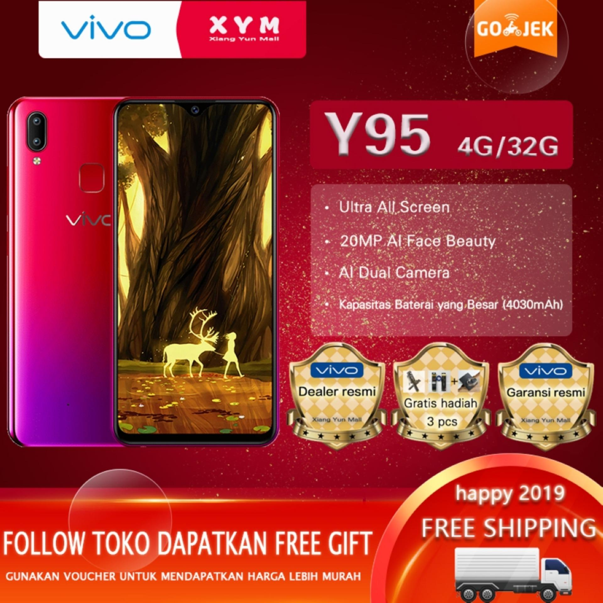 Vivo Y95 hp 4G/32G - COD, Gratis Ongkir, AI Dual Rear Camera, 4030mAh Battery, Garansi resmi [ Please use the voucher ]