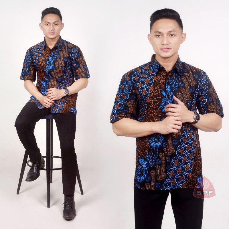 Baju Batik Pria Kemeja Batik Lengan Pendek Seno Biru