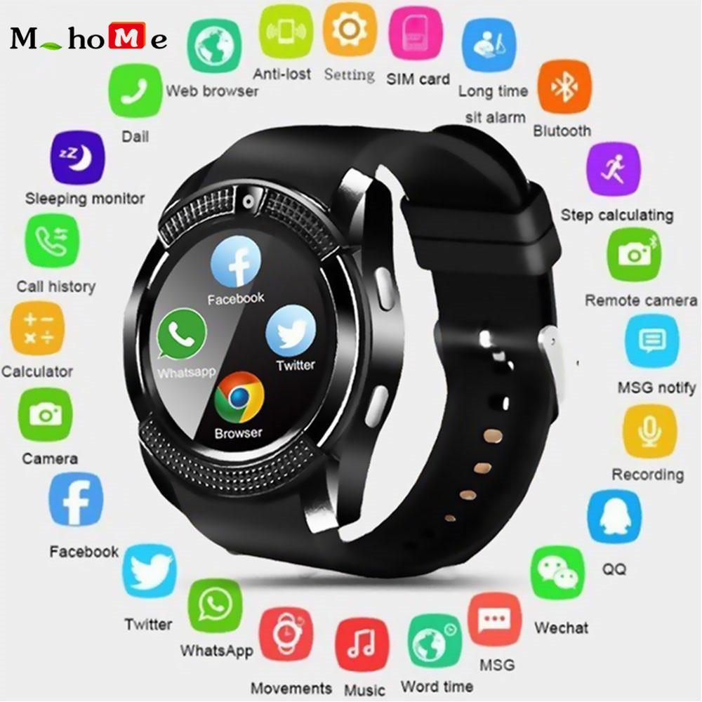 M_home V8 Tahan Air Jam Tangan Pintar Bluetooth dengan Kamera Smartwatch Gelang Kebugaran Keren Smart Watch