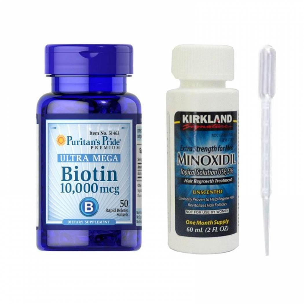 Kirkland Minoxidil 5% + Vitamin Biotin 10,000 Isi 50 Paket Lengkap Obat Penumbuh Rambut/brewok/kumis Pria By Toko Cendol.