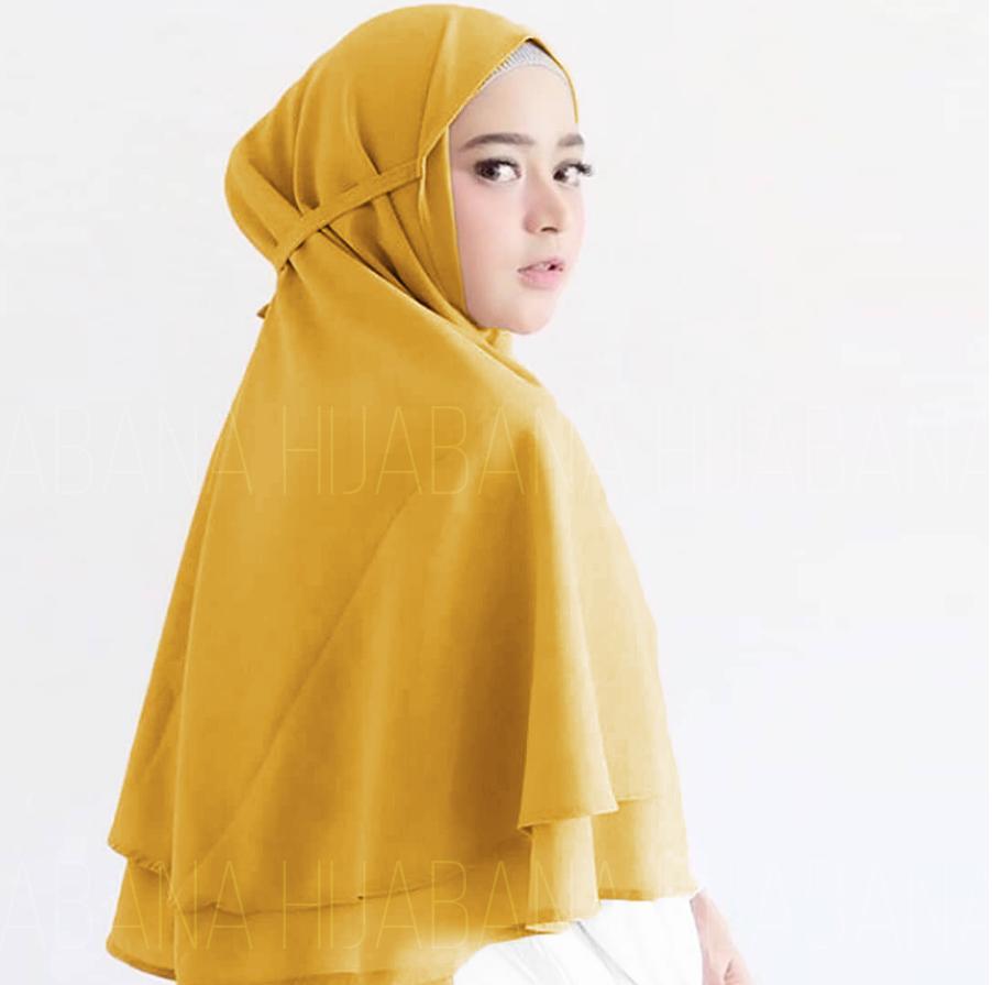 HIJABANA Kerudung Bella Instan Bergo 2 Layer - Jilbab instan Hijab Instan - Khimar Instan Dua Layer Pashmina Instan Pastan Oshi