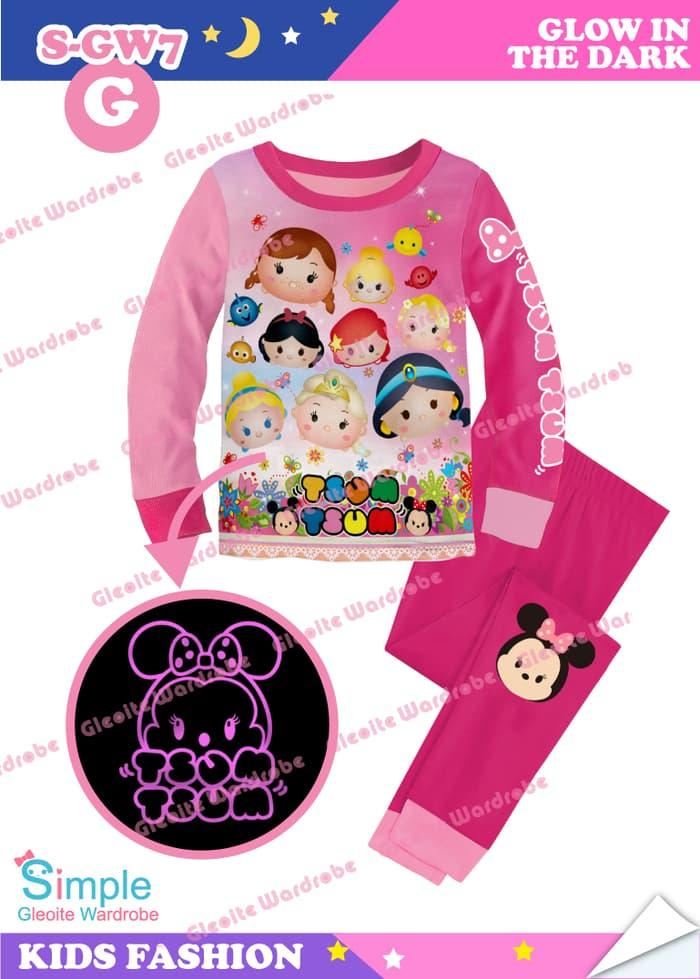 BARRYSTORE - S-GW7-G Glow In The Dark - Piyama Anak - Disney Tsum Tsum Princess