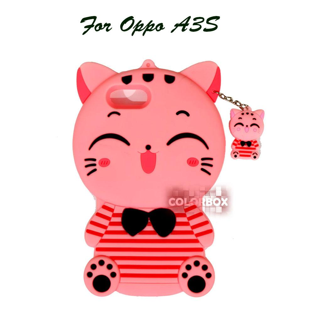 MR Soft Case 3D Oppo A3S Pink Cat Red Horizontal Line / Silikon 3D Oppo A3S / Softcase Kartun / Jelly Case / Case Hp Unik / Casing Silicone Oppo A3S - Kucing Pink
