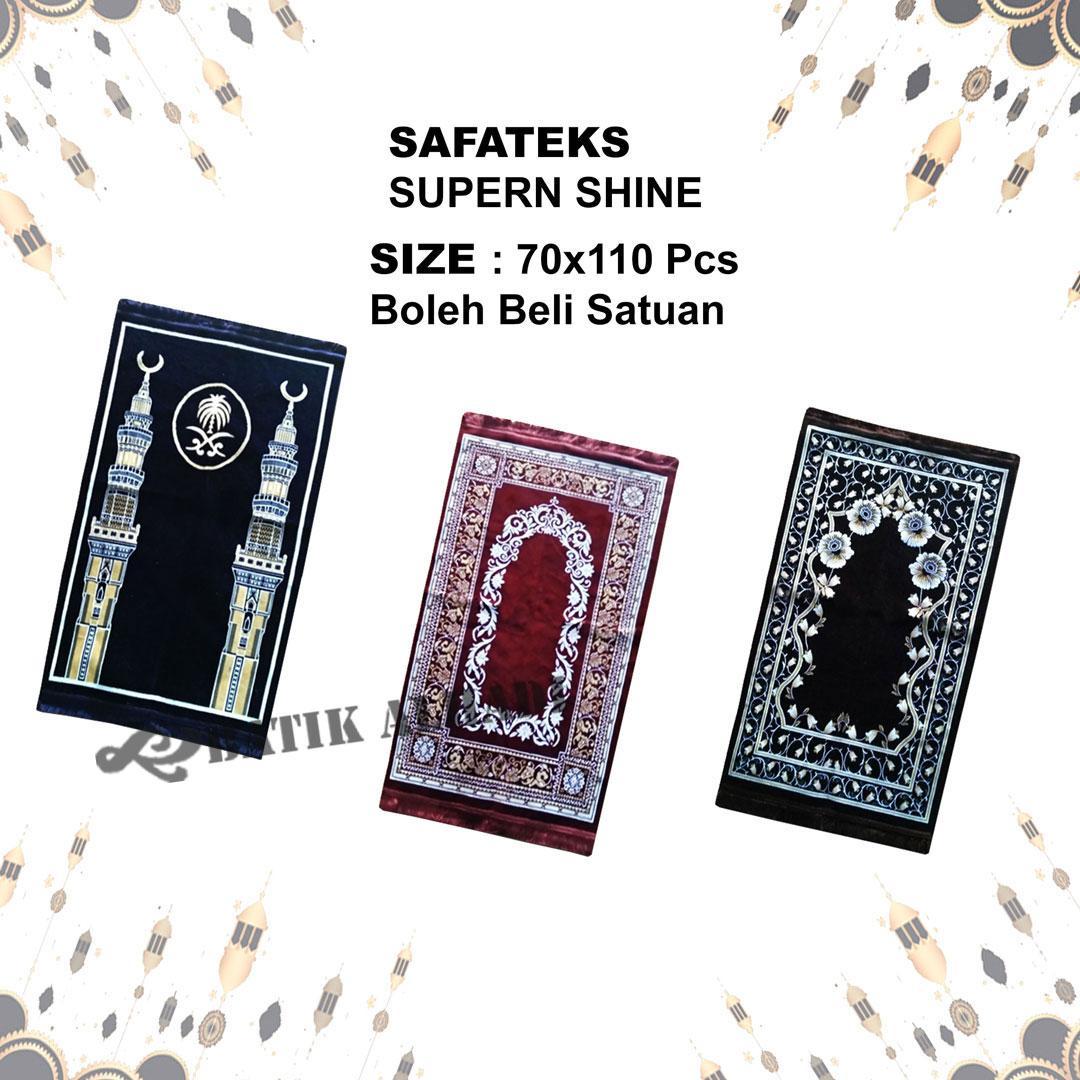 Sajadah Safateks Super Shine Tebal, Bulu Halus dan lembut, Oleh Oleh Haji dan Umroh Made in Turkey (SSV003) - Batik Alhadi