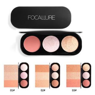 FOCALLURE New Arrival 3 Colors Blush & Highlighter Palette Face Matte Highlighter Powder Illuminated Blush Powder Face Makeup Blusher thumbnail