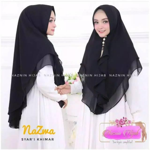 New Jilbab Khimar Nazma / Hijab Instan Daisy Syari 2 layer / kerudung Instant pet antem bahan Ceruti