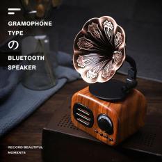 Loa bàn xoay gỗ không dây phát nhạc cổ điển, âm nhạc siêu trầm, hỗ trợ thẻ TF radio thích hợp dùng trang trí nhà cửa – INTL
