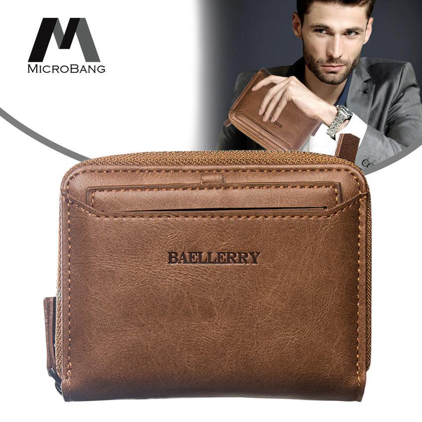edc8107b3699 MicroBang Fashion Wallets Men Zipper Wallets PU Leather Bifold Pocket Purse  with Detachable Card Holder Men Short Wallet Coin Card Holder Money Credit  ...