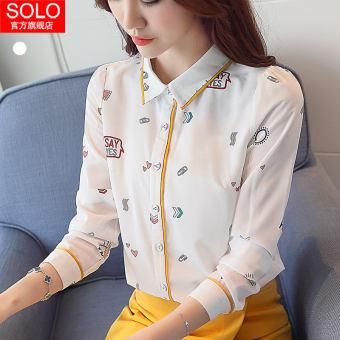เสื้อชีฟองหญิงแขนยาวคอเด็กเสื้อ 2020 ฤดูใบไม้ผลิใหม่สไตล์เกาหลีพิมพ์ลายเสื้อเชิ้ตมีมาดเข้าได้หลายชุดเสื้อเชิ้ตน้ำ