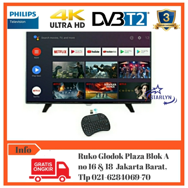 Philips Smart Android LED TV 4K/UHD DVB-T2 43 inch 43PUT6002 [Bebas Ongkir]