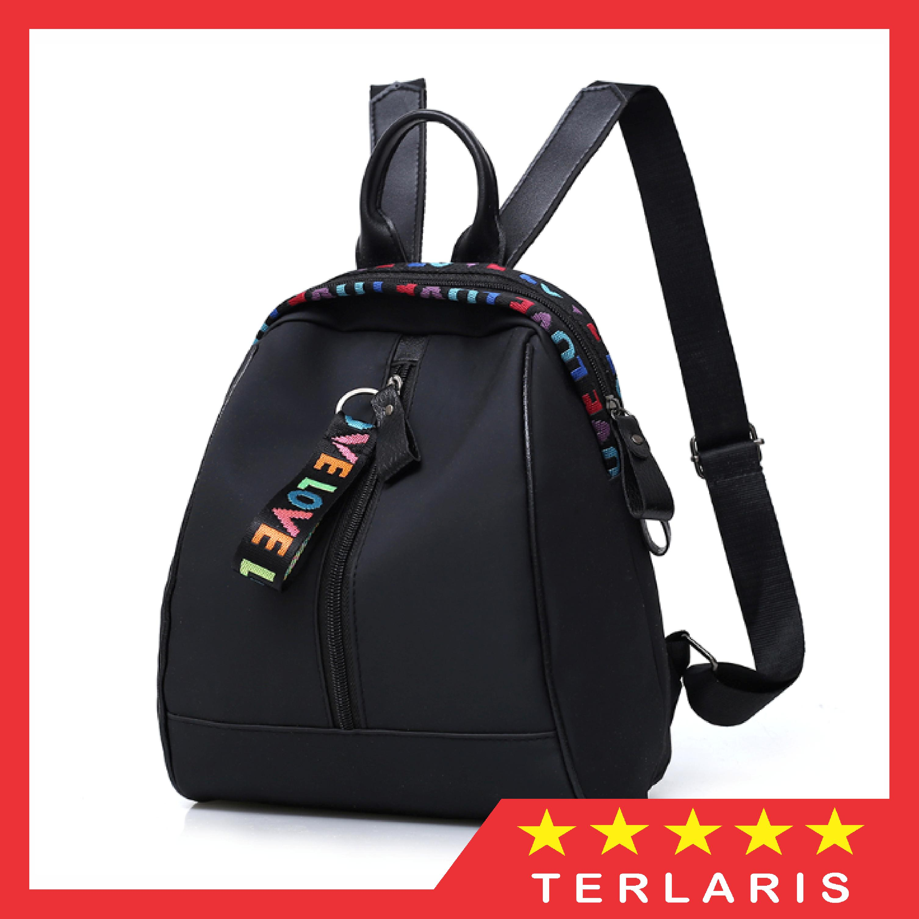 45bd1b62fe06 Tas Korea Ransel Wanita Mini Love Color Backpack (LJY05) - Hitam