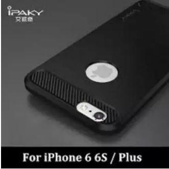 BAYAR DI TEMPAT Case for iphone 6 plus - IPAKY Carbon Fiber Softcase Hybrid - Pelindung HP iphone - Hitam
