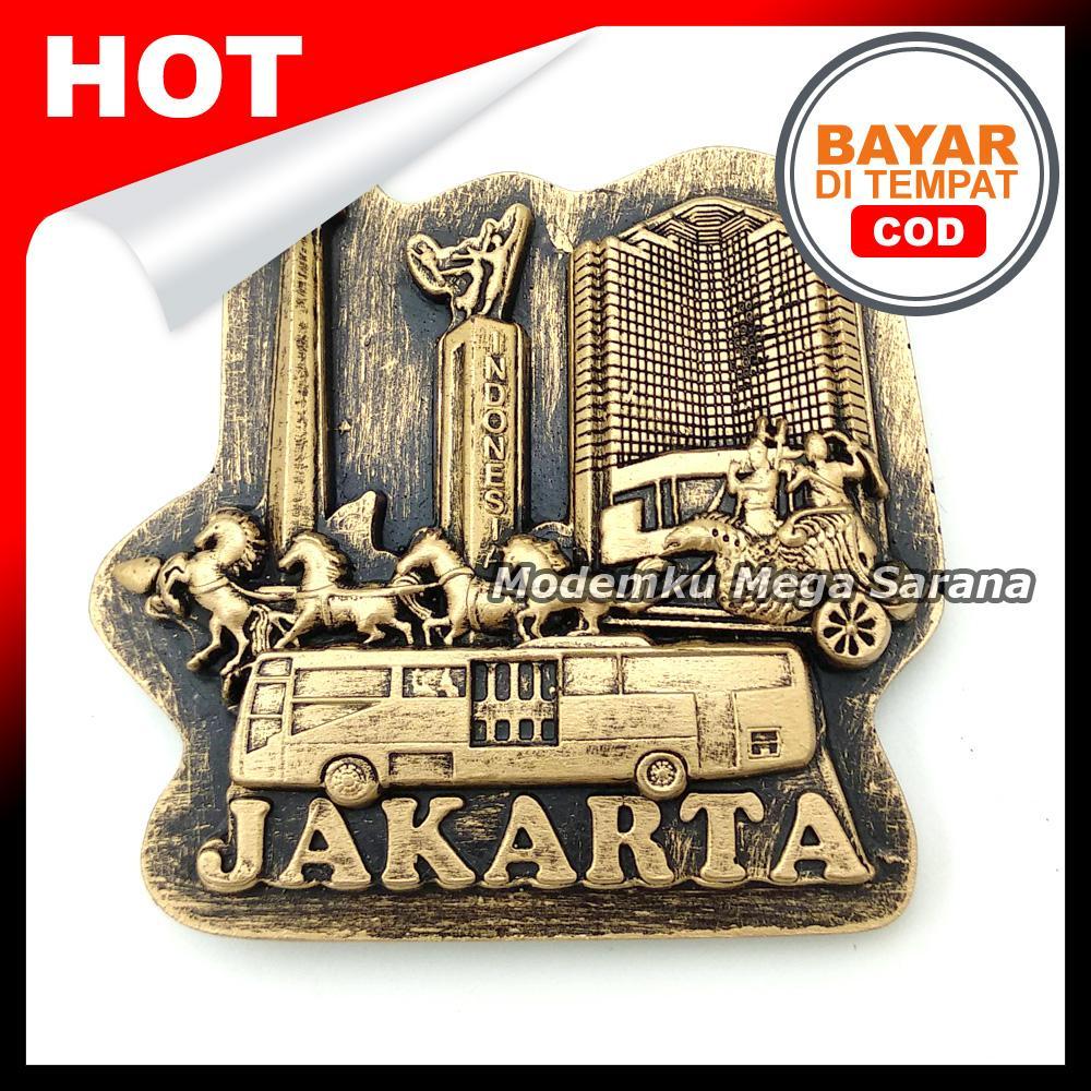 Magnet Kulkas Tempelan Rilief Jakarta Tugu Monas Kereta Bus Gedung