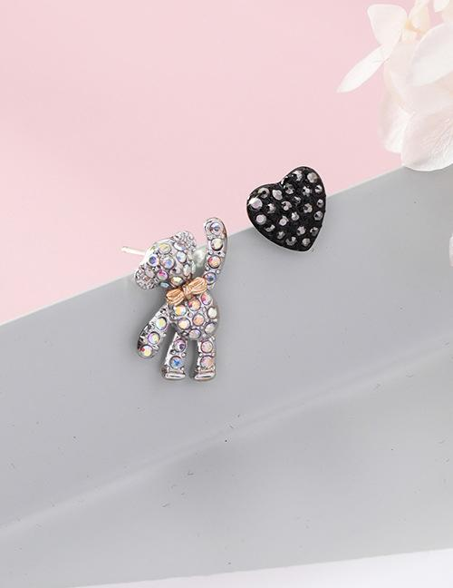 LRC Anting Tusuk Fashion Black+silver Color Heart&bear Shape Decorated Earrings