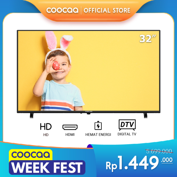 Coocaa LED TV 32 inch - Analog & Digital TV - DVB T/T2 - Panel HD (Model  32D5T)