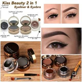 [1 pcs] - COD [2in1] Kiss Beauty 2in1 Eyeliner Gel & Eyebrow Powder Kissbeauty Kosmetik Grosir Eyeliner Gel Eyebrow Cake thumbnail
