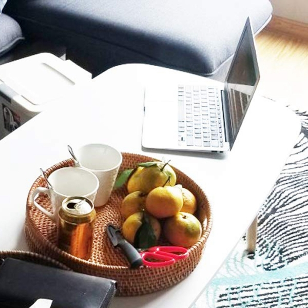 Rattan Hand Woven Round High Wall Severing Tray Food Storage Platters Plate with Handles for Breakfast, Drinks, Snack for Coffee Table(S-30Cm)