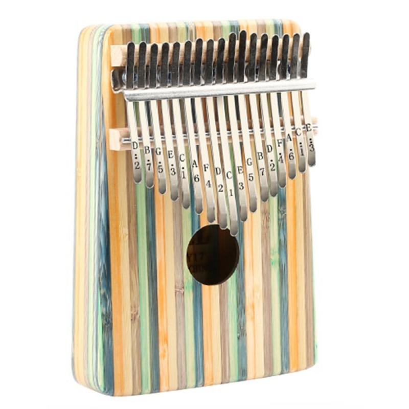 Thumb Piano,17 Keys Kalimba Thumb Piano Kit Portable Green Bamboo Finger Thumb Piano Musical Instrument Accessories