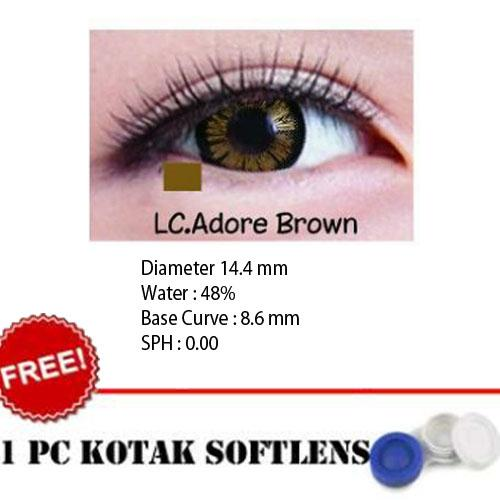 Softlens Living Color Adore Brown - Kualitas Bagus + FREE Lenscase