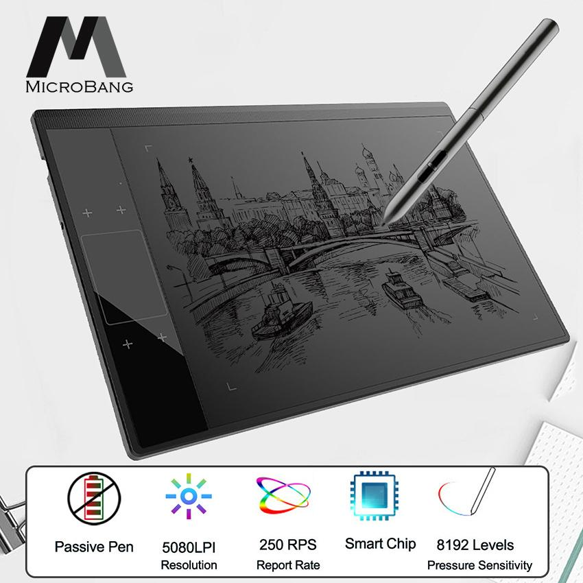 MicroBang Graphics Drawing Tablet Writing Tablet Digital Drawing Pad with Pen Drawing Board for Windows Mac, 10 x 6 Inches