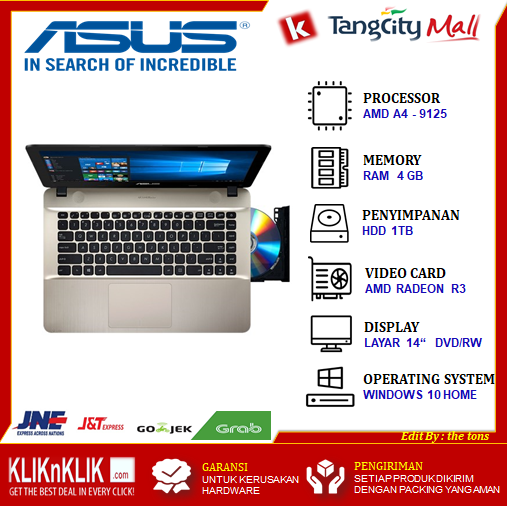 Laptop Asus X441ba Amd A4 9125 Ram 4gb Hdd 1tb Radeon R3 Dvd 14 Win10 New Garansi 2 Tahun Lazada Indonesia