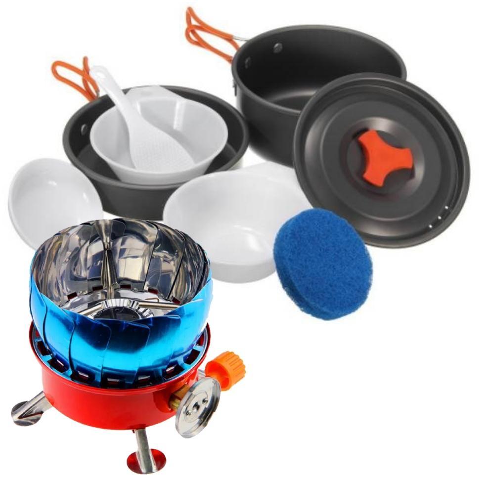 Paket alat masak camping kompor gas windproof dan Cooking set nesting ds-200 untuk 2