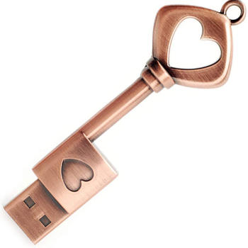 32GB USB 2.0 Flash Drive, Retro Metal Love Heart Key Shaped Thumb Drive,USB Pen Drive Pure Copper USB Flash Drive Key