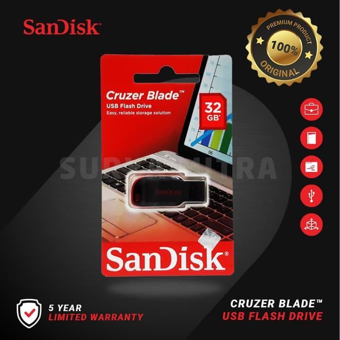 Flashdisk Sandisk 32gb Original Cruzer Blade Cz50 / Cz 50 By Surya Mitra Online.