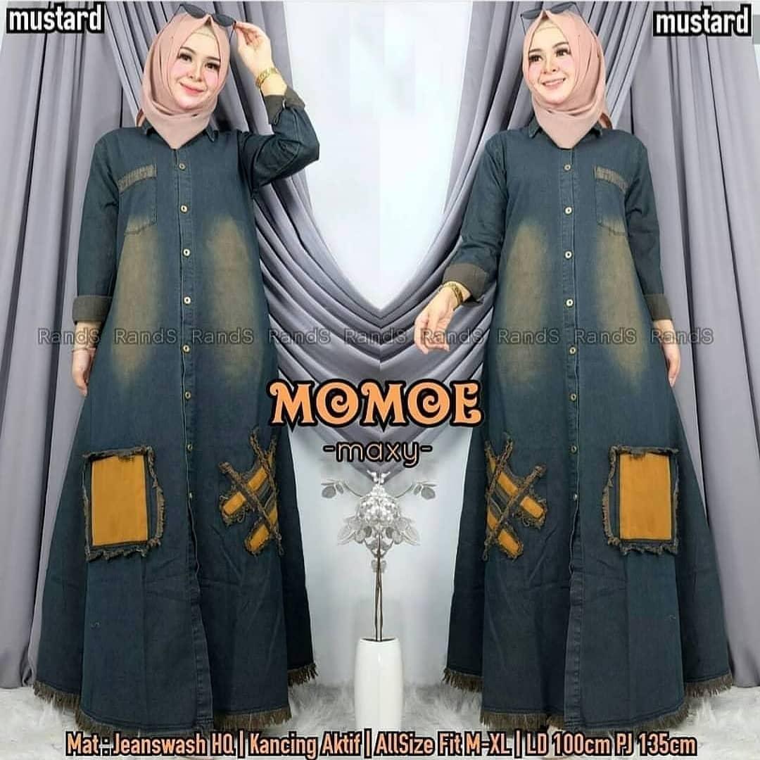 MOMOE MAXY JEANS / DRESS HIJAB WANITA / Gamis Denim / Gamis Levis / Dress  Jeans / Dress Denim / Dress Levis / Baju Gamis Wanita Terbaru 9 / Gamis