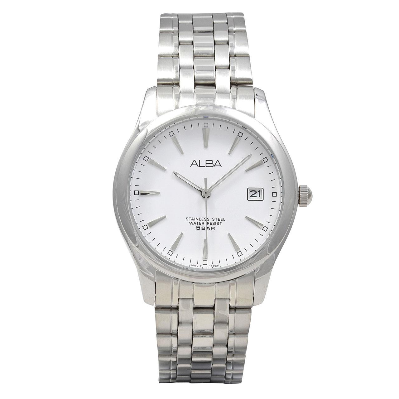 ALBA Jam Tangan Pria - Silver White - Stainless Steel - c