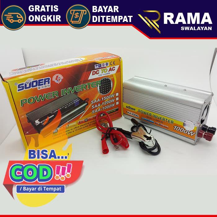 BEST SELLER BISA COD, Power Inverter 1000w - DC 12v ke AC 220v Merk Suoer Type SAA-1000w Harga diskon Promo, Murah dan Berkualitas - Toko Rama Swalayan