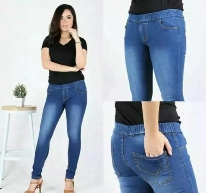 Celana Jeans Premium Wanita - Jumbo - Pinggang Karet - Melar - Street