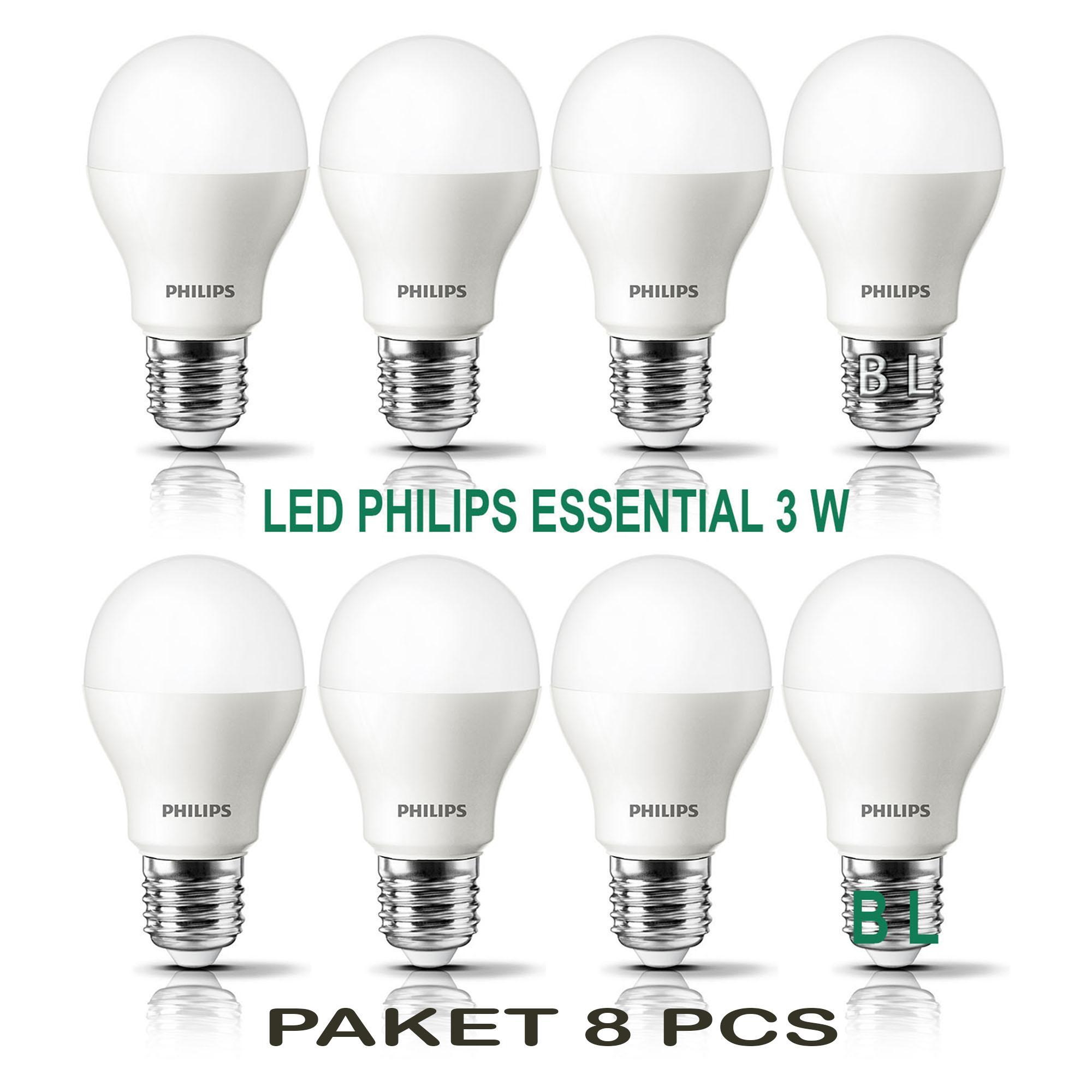 PHILIPS Lampu Led Bulb ESSENTIAL 3W 3Wat 3 W 3 Watt (PAKET 8 PCS)