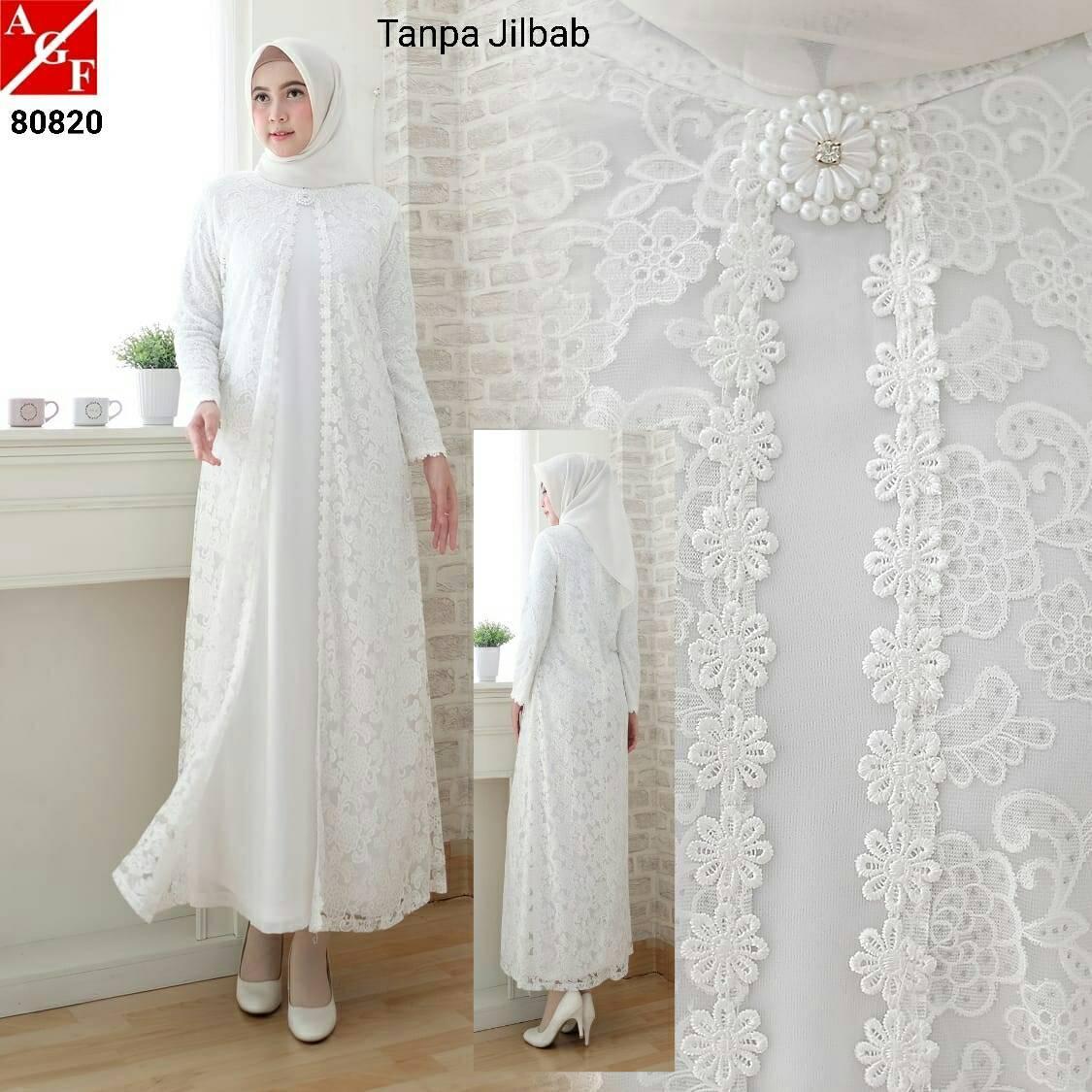 Baju Gamis Wanita Brukat   Gamis Putih Lebaran Umroh Haji   Busana Muslim 5050188f25