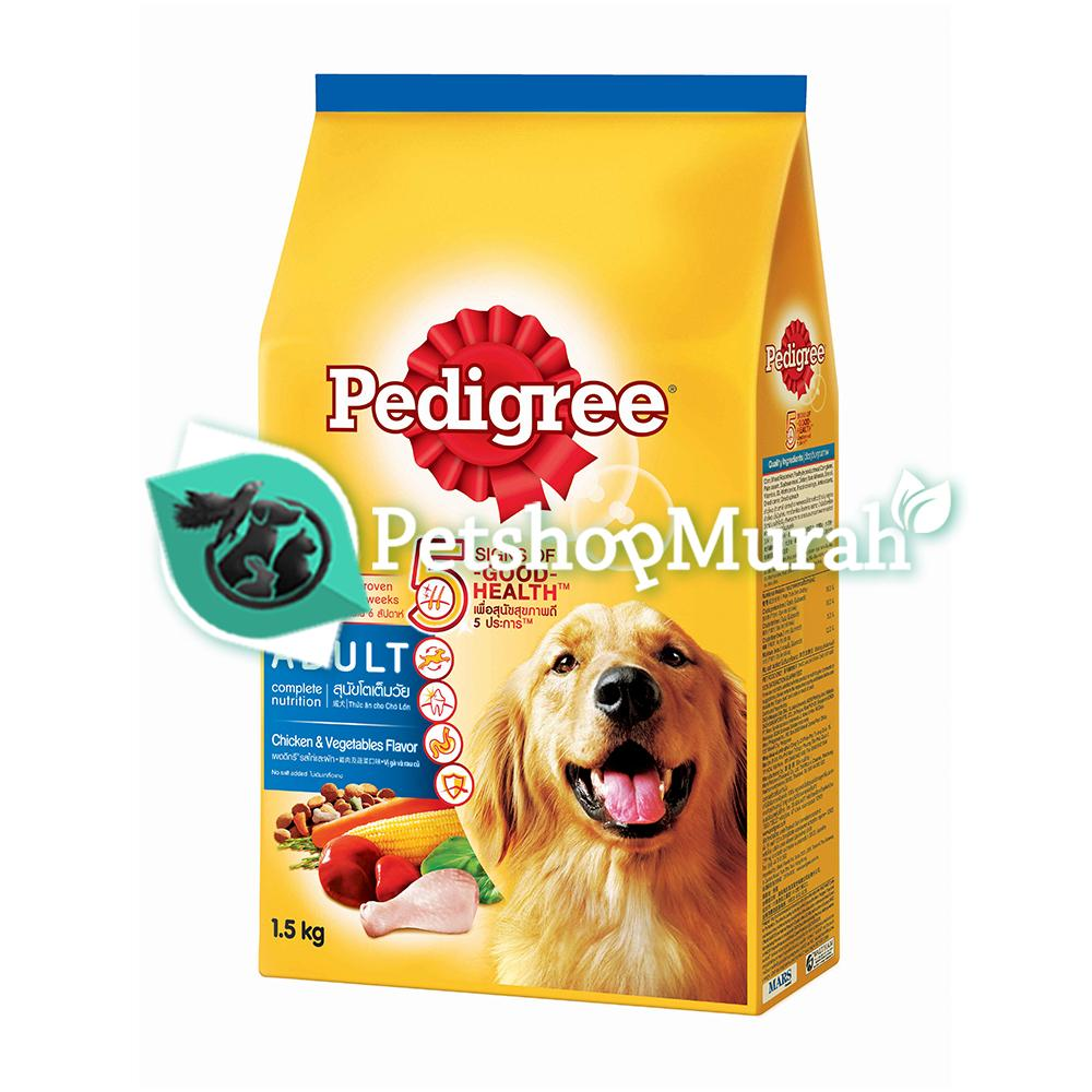 Makanan Anjing Pedigree Adult Chicken & Vegetables 1,5 Kg / Dryfood Pedigre Dewasa 1,5kg By P.s.m.