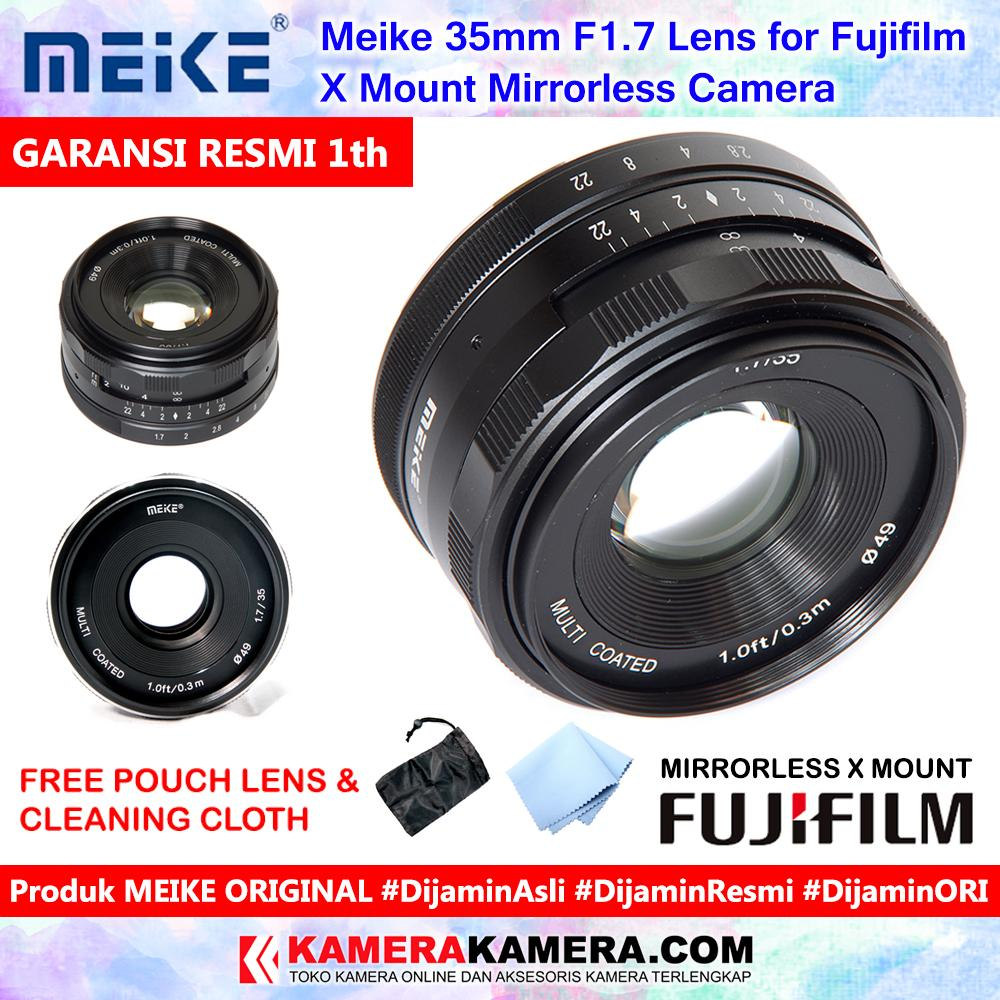 Meike 35mm F1.7 Lens For Fujifilm X Mount Mirrorless Camera Include Pouch + Cleaning Cloth - Garansi Resmi 1th For Fujifilm X-A1 X-A2 X-A3 X-A5 X-E1 X-E2 X-E2s X-E3 X-M1 X-T1 X-T10 X-T2 X-T20 By Kamerakamera.